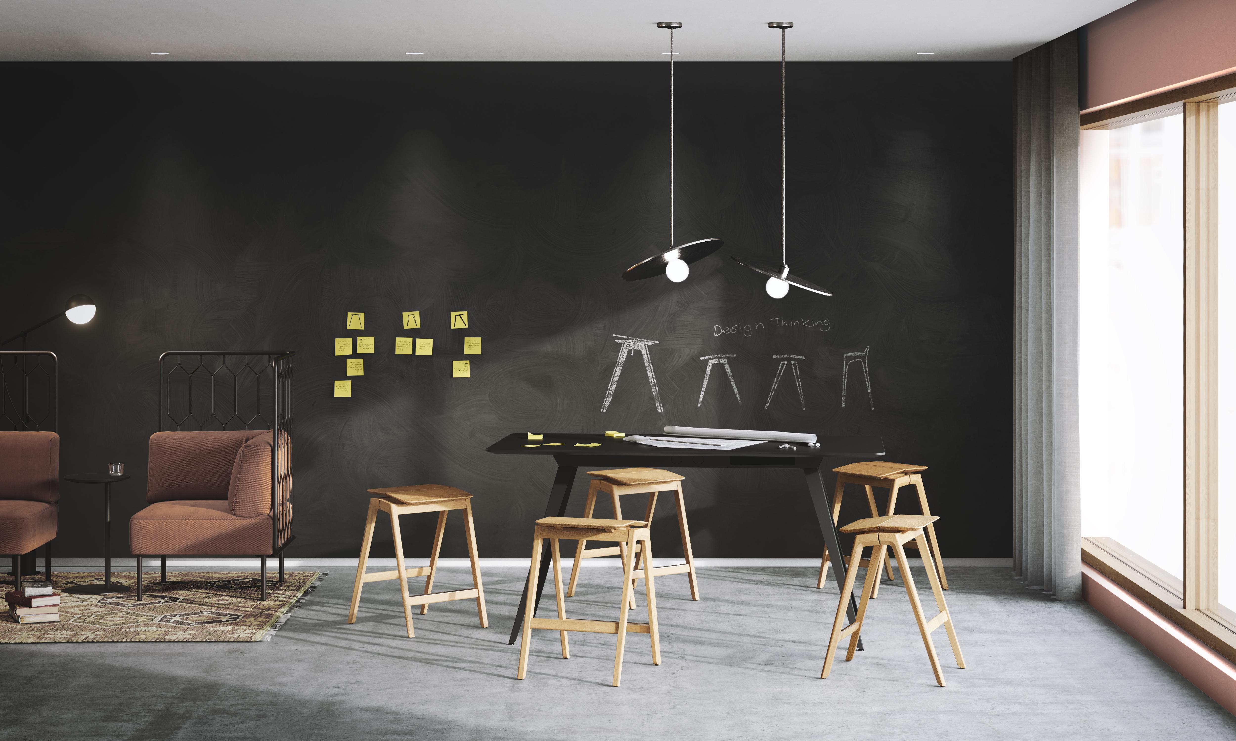 Arbeidsstasjon med Knekk krakk og bord Kove stoler Fora Form