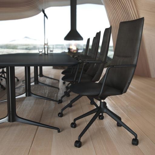Fjell med 4er kryss og høy rygg sammen med et Kvart bord i et konferanserom fra Fora Form