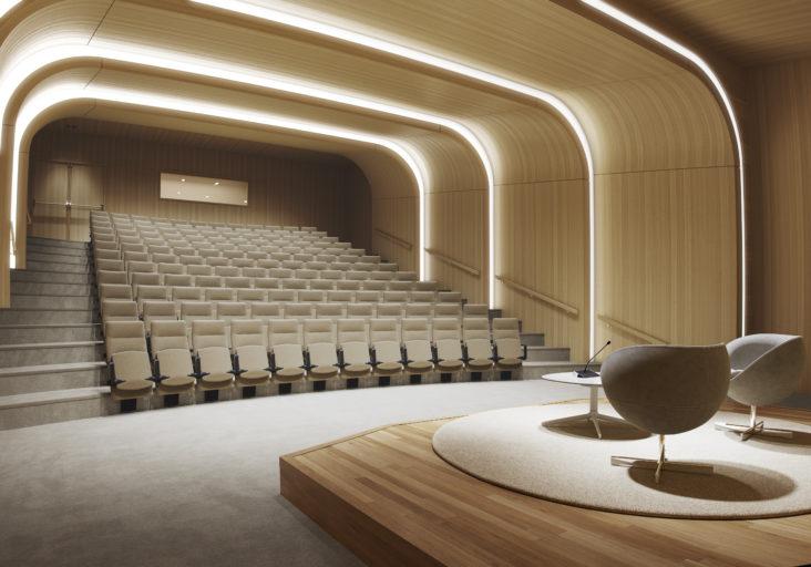 Arena auditorium med høy rygg og oppslått sete
