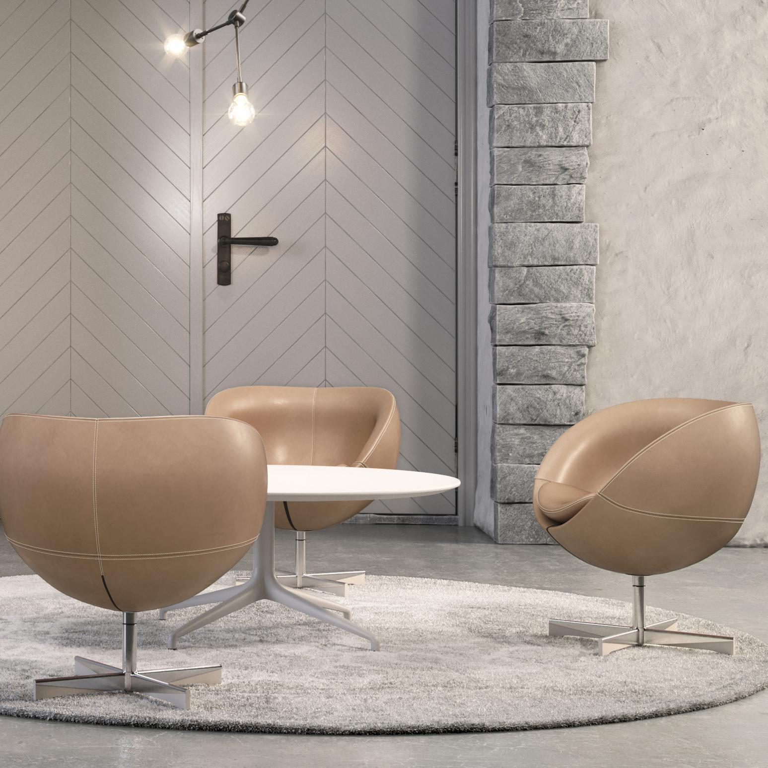 Planet stoler i skinn og hvit Kvart lounge bord Fora Form jpg
