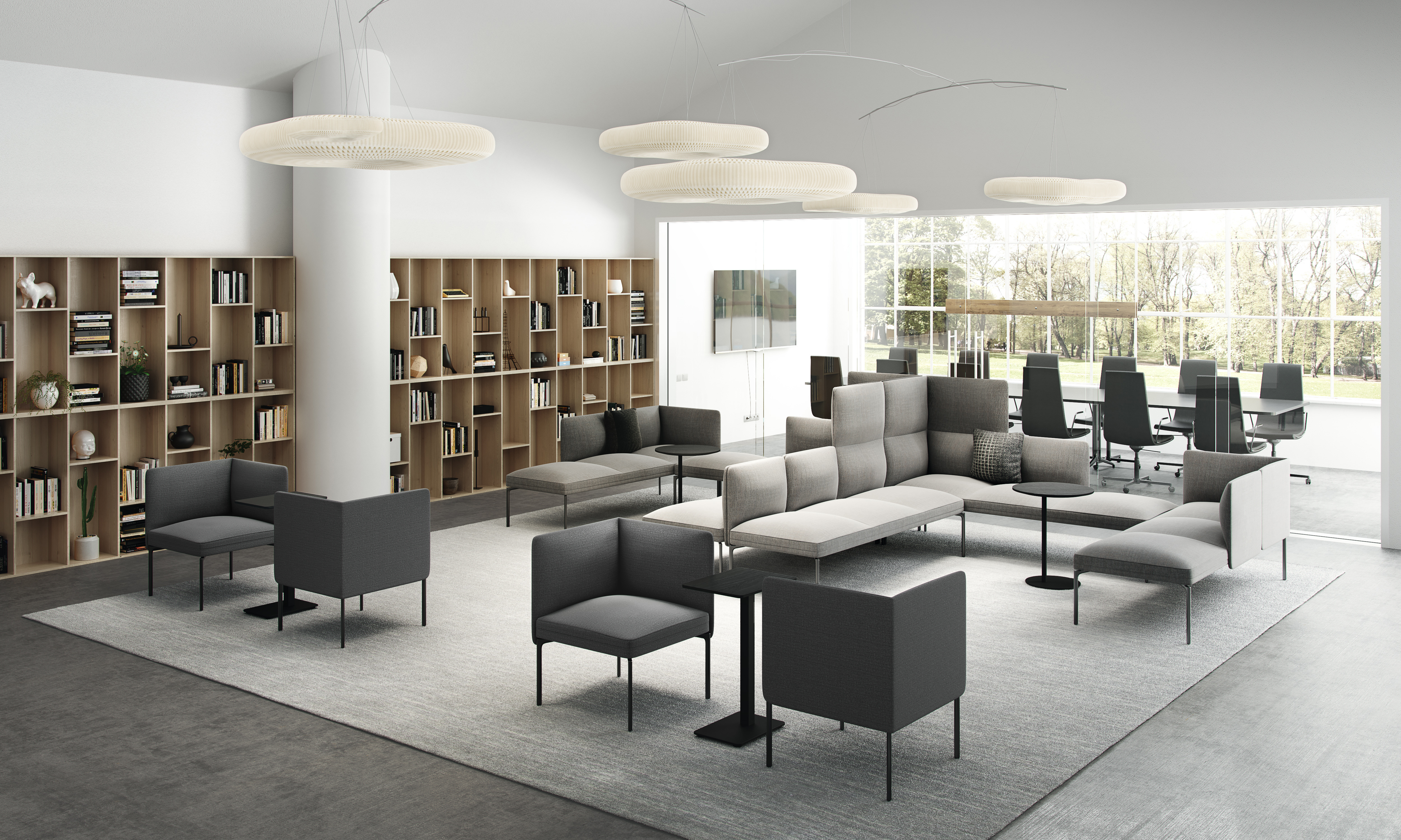 Senso sofa og stoler L og S bord Clint stoler og Kvart bord Fora Form