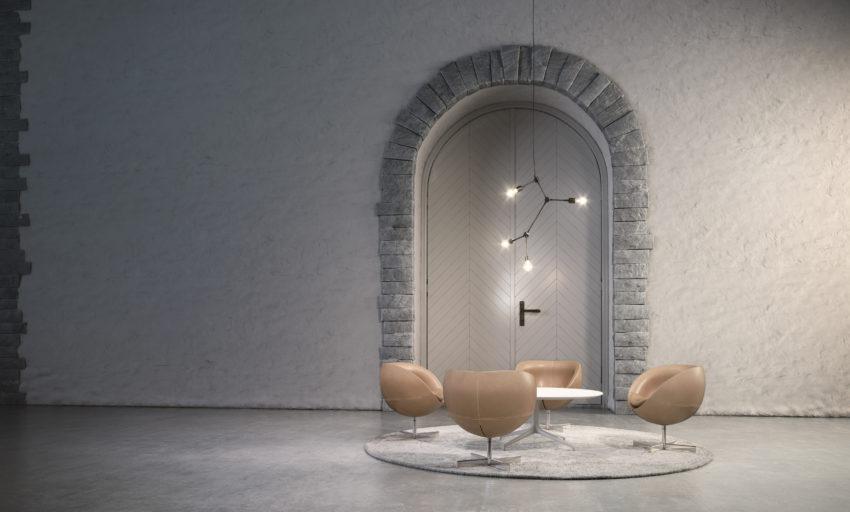 Planet stoler og Kvart bord i et venteområde Fora Form