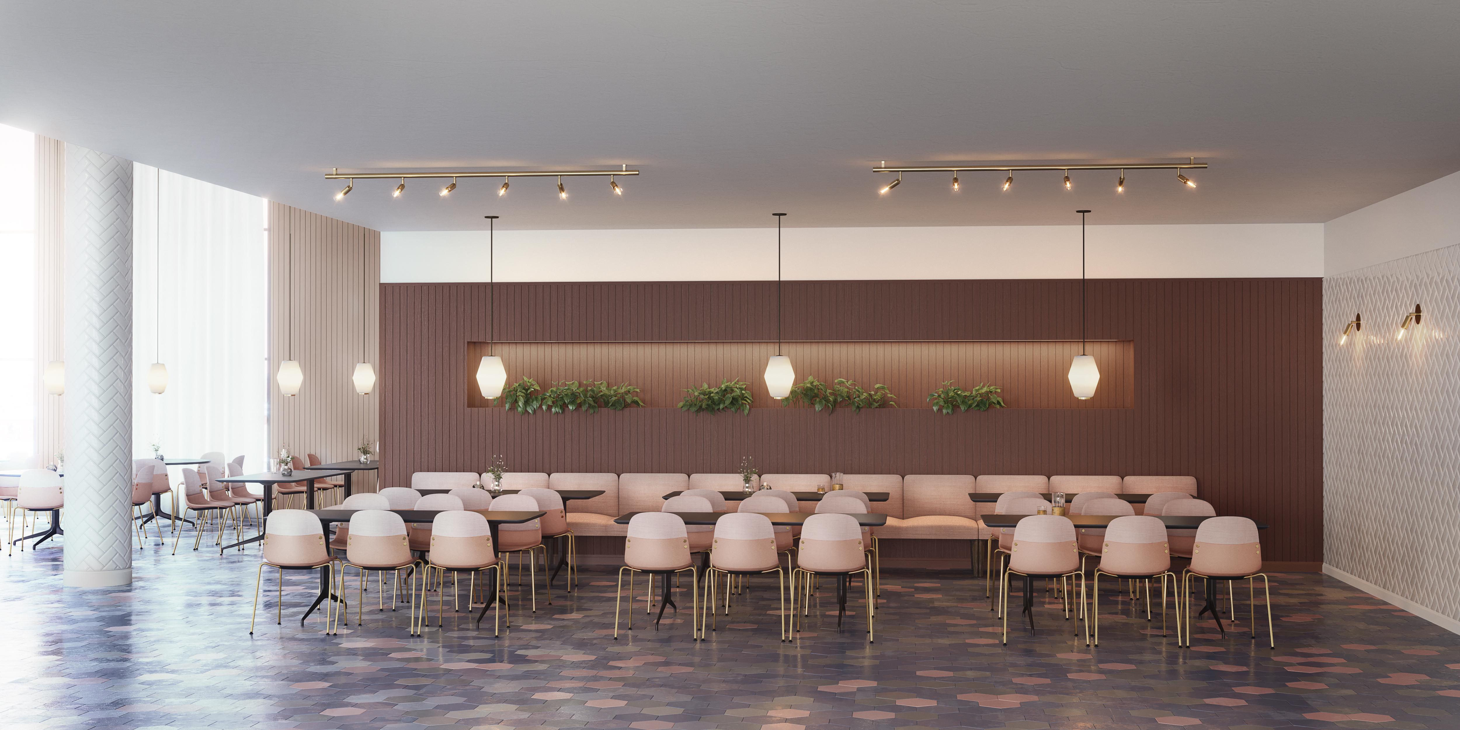 Con I stoler Kvart bord og Senso sofa med treben i en kantine Fora Form
