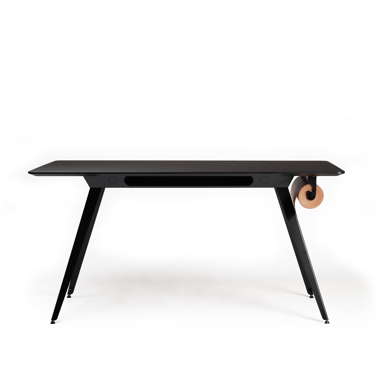 Knekk bord med sort linoleum og sort base Aktivitetsbord Fora Form