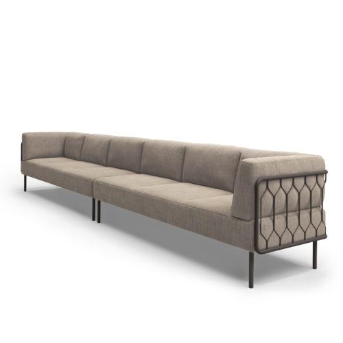 Kove 6 seter sofa med lav rygg modulsofa Canvas Fora Form