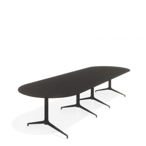 Kvart konferansebord 380x120 Ovalt med kabelluke Fora Form