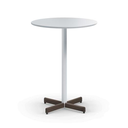 Myk bord Ø80 H150 cm ståbord med hvit laminat mørkbeiset deksel Fora Form