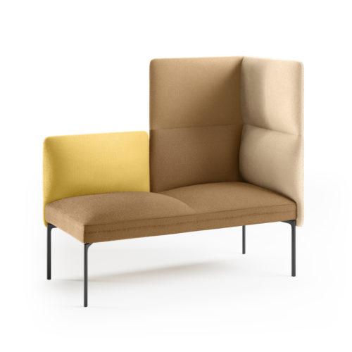 Senso 2 seters hjørnesofa i gule tekstiler fra Fora Form